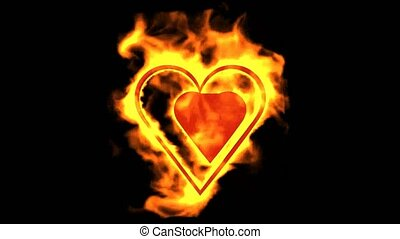valentine's day energy heart, two burning hearts.