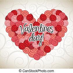 valentines day card over beige background. vector...