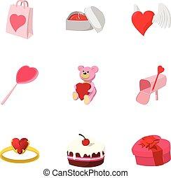 Valentines day february 14 icons set. Cartoon illustration...