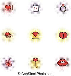 Valentines day february 14 icons set. Pop-art illustration...