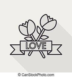 Valentine's Day flower flat icon with long shadow,eps10