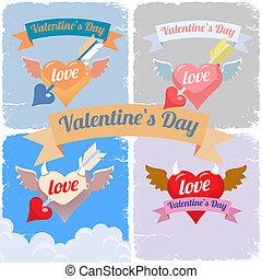 Valentines day, flying hearts set