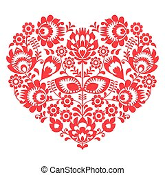 Valentines Day folk art red heart - Decorative traditional...