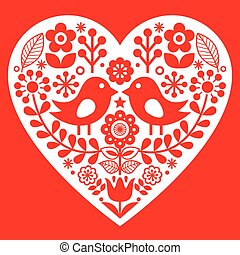 Valentine's Day folk pattern with birds and flowers - Finnish inspired