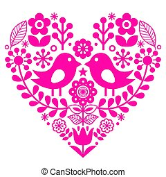 Valentine's Day folk pattern with birds and flowers - pink design, Finnish inspired