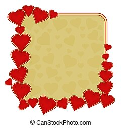 Valentines day frame of hearts gold