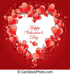 Valentines Day Frame with Hearts, vector illustration