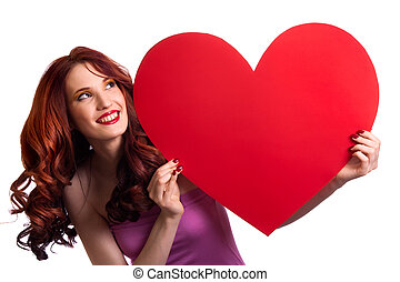 valentines, day., frau besitz, valentinestag, herz, zeichen, mit, kopieren platz