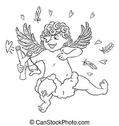 Valentine's day. Funny Cupid with patch on the knee on a cloud shoots with a slingshot.