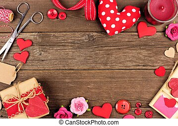 Valentines Day gift concept frame against rustic wood