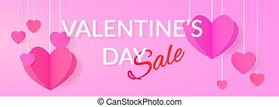 Sale banner with paper heart garlands