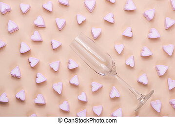 Valentines Day Glass with lots of candy hearts marshmallows