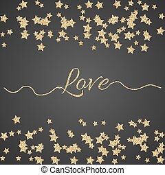Valentines Day glitter shimmer card background. Gold love confetti border.