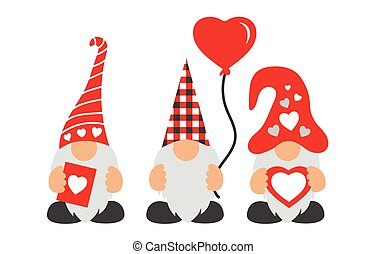 Valentines Day Gnomes with hat, balloon, & hearts