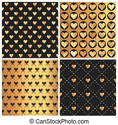 Valentine's Day Gold Heart Patterns - 4 Seamless Backgrounds - in vector