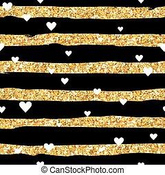 Valentine's Day Goldaen Heart Patterns - Seamless Background - in vector