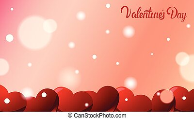 Valentines Day Greeting Card Background With Red Hearts