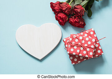 Valentine's day greeting card. Bouquet of red roses and...