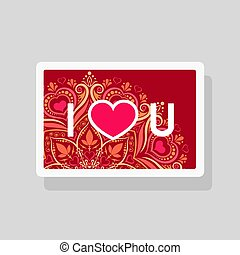 Valentine's Day greeting card I Love You with abbreviated text and heart shape on mandala background