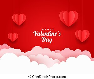 valentines day greeting card in paper cut style
