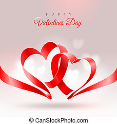 Valentines Day greeting card - ribbon in the shape of two hearts