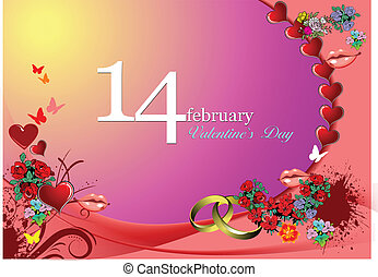 Valentine`s Day  Greeting Card. Ve