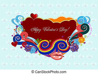 Valentine`s Day  Greeting Card. Vector illustration. Cover