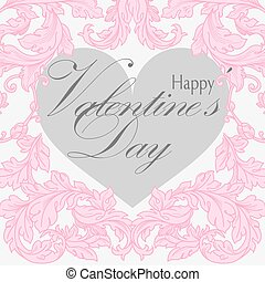 Valentines day greeting card with floral design elements and...