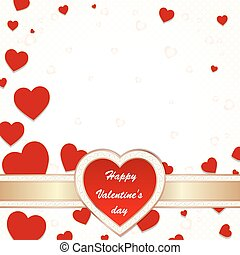 Valentine's day greeting card with flying hearts and place ...