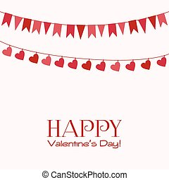 Valentine's Day greeting card with garlands