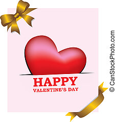 Valentines Day Greeting Card with Gold Ribbon Decoration -...