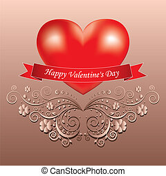 Valentine's day greeting card with heart
