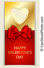 Valentine's day greeting card with heart shape and red bow. ...