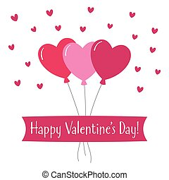 Valentines Day greeting card with hearts balloons