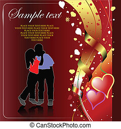 Valentine`s Day Greeting Card with kiss. Vector illustration...