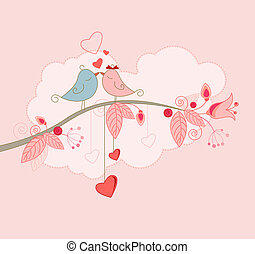 Valentine's Day greeting card with kissing birds