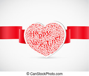 Valentine`s day greeting card with letters