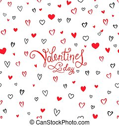 Valentine's day greeting card with love hearts pattern. Romantic date card with  hearts rain background.