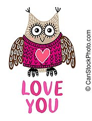Valentine's day greeting card with owl