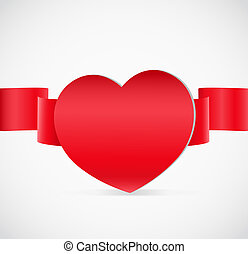 Valentine`s day greeting card with red heart