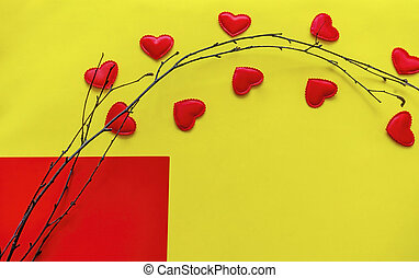 Valentines day greeting card with tree branch and heat shapes