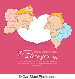 Valentine's Day greeting card with two angels