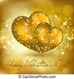 Valentine's day greeting card with two golden hearts