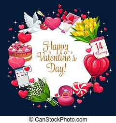 Valentines day greeting, hearts banner