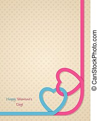 Valentine's day greeting with pink and blue heart ribbon