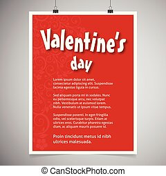 Valentine's day greetings card with red background