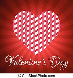 Valentine's day greetings card with red pattern background