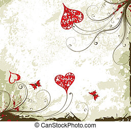 Valentines Day grunge background with hearts and florals -...