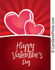 Valentines day - Happy valentines day card over red...
