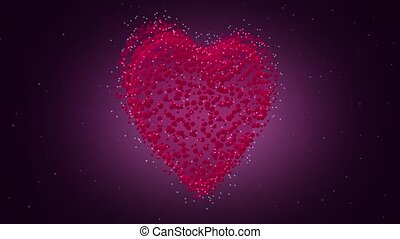 Valentines Day Heart 3D. Looped video. Heart of particles